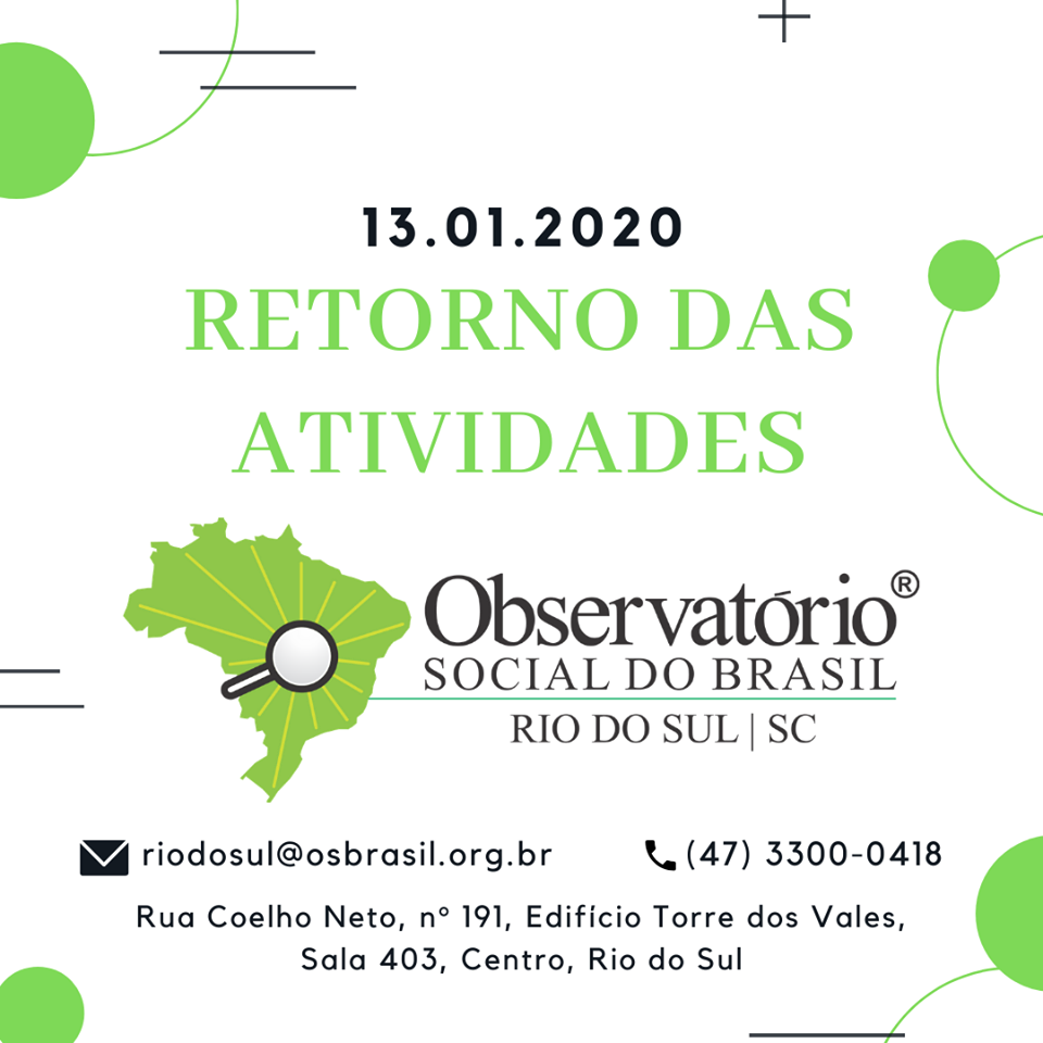 Retorno das atividades em 13-01-2020